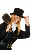 woman as a chimney sweep. good luck on new year's eve and new year.