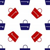 Blue And Red Handbag Icon Isolated Seamless Pattern On White Background. Female Handbag Sign. Glamou poster
