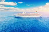 Cruise Liner Floats On Blue Sea. Concept Summer Vacation Tour. Sunny Day poster