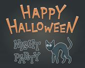 Toon Flat Vector Illustration For Happy Halloween. Drawing Style For Night Party With Creepy, But Cu poster