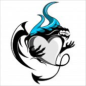 Vector illustration of a dragon tattoo  heart, isolated on white background. Can be used as icon, tag, label, sticker or tattoo.