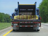 foto of oversize load  - semi trailer truck oversize load on highway - JPG
