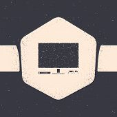 Grunge Video Game Console Icon Isolated On Grey Background. Game Console With Joystick And Lcd Telev poster