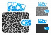 Wallet Composition Of Rugged Parts In Various Sizes And Color Hues, Based On Wallet Icon. Vector Ine poster