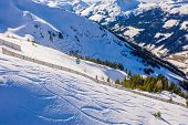 Mountains Ski Resort Solden Austria - Nature And Ski Slopes By The Beautiful Winter Town. Trees Cove poster