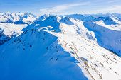 Alpine Mountains Range Landscape In Beauty French, Italian And Swiss Alps Seen From The Plane. Ski R poster