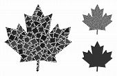 Maple Leaf Composition Of Rough Pieces In Various Sizes And Color Tones, Based On Maple Leaf Icon. V poster