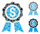 Business Award Composition Of Joggly Pieces In Various Sizes And Color Tints, Based On Business Awar poster
