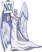 stock photo of cherubim  - Vector Angel Holding a sign  - JPG