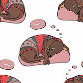 Vector Sleeping Dachshund Dog Seamless Pattern. Dachshund Dog In Sweater. Print For Fabric, Wrapping poster