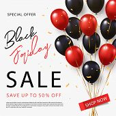 Black Friday Sale Banner, Poster Or Flyer Design With Black And Red Helium Balloons On White Backgro poster
