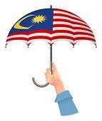 Malaysia Flag. Hand Holding Umbrella. Social Security Concept. National Flag Of Malaysia  Illustrati poster