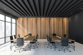 Black And Wooden Meeting Room Interior poster