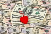 Red Stylized Heart On The Money Background