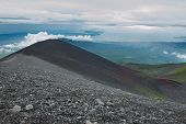 Photo taken during the descent from the Mt. Fuji. Slopes of the mountain are multicolored - which is