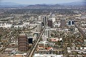 stock photo of track home  - Skyline of Midtown Phoenix Arizona from above - JPG