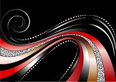 Colored and silver wavy stripes and stars on black background