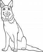 Perro de Pastor Alemán de dibujos animados para colorear