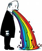 foto of puke  - A cartoon businessman vomits a rainbow on to the floor - JPG