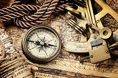 stock photo of cord  - old map and cooper compass with cord - JPG
