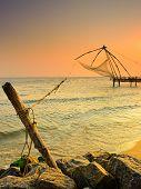 Chinese  fishnets on sunset.  Kochi, Kerala,India