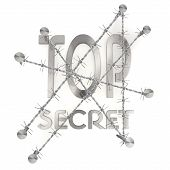 isolated  nailed top secret icon with razor wire