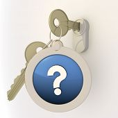 Locked unlocked question mark icon on key pendant