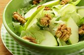 stock photo of walnut  - waldorf salad with apples - JPG