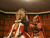 Kathakali performer in the virtuous pachcha (green) role in Cochin Kathakali Center