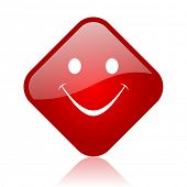smile red square glossy web icon