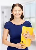 bright picture of beautiful woman with folders