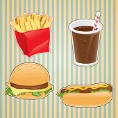 Fast food icon of burger, french-fry and drink.