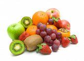 Fresh Fruit On A White Background Close-up.