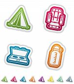 stock photo of tipi  - 4 icons in relations to summer outdoor activity pictured here from left to right top to bottom - JPG