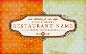 Restaurant vintage label design with retro floral frame for vintage menu design, old paper texture