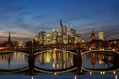 Panorama Of Frankfurt At Twilight