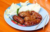 Thai Food Sai Krawk E-san (sausage Northeastern Style) ,meat Salami Sausage On Disk