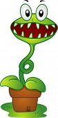 Illustration of a Mascot Venus Flytrap in a pot