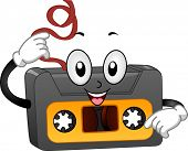 Illustration of a Retro Casette Tape with Pulled-Out Tape Mascot on white background