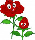 Illustration of Red Rose Mascots in Bud and Full Bloom