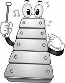 Illustration of a Xylophone Mascot holding a percussion mallet