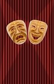 Comedy and tragedy theatrical mask on a curtain