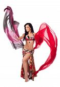 Cheerful Bellydancer Dancing with Multicolored Veils