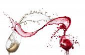 stock photo of merlot  - Red and white wine splash isolated - JPG