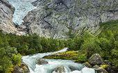 Glacier Briksdal In National Park In Norway.