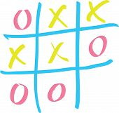 Tic-tac-toe on a white board