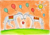 foto of jack-ass  - Happy donkeys with balloons - JPG
