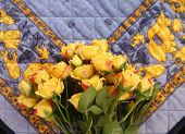 decorative old fabric with yellow roses