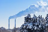 Industrial tubes smoke in front of blue sky and winter spruce forest covered by snow