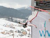 BUKOVEL, UKRAINE - FEBRUARY 23: Sabrina Guerin, Canada performs aerial skiing during Freestyle Ski World Cup in Bukovel, Ukraine on February 23, 2013